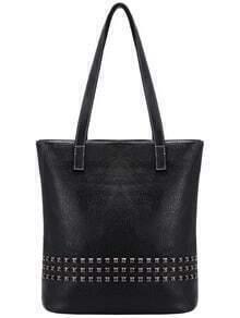 Black Classic Rivet PU Shoulder Bag