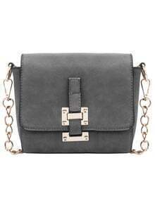 Grey Metal Buckle Chain Satchel Bag