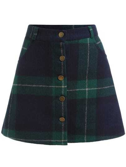 Green Blue Plaid Buttons Skirt