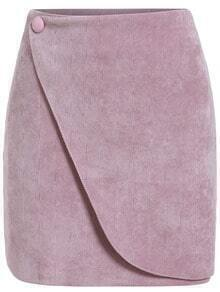 Pink Button Corduroy Skirt