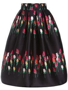 Colour Rose Print Flare Skirt
