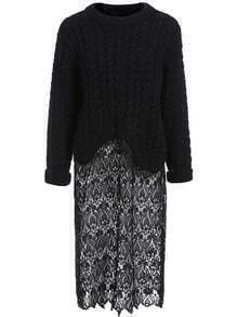 Black Round Neck Cable Knit Lace Sweater Dress
