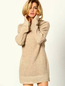 Apricot Cowl Neck Long Sleeve Sweater Dress