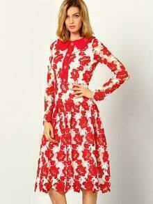 Red White Long Sleeve Hollow Lace Dress