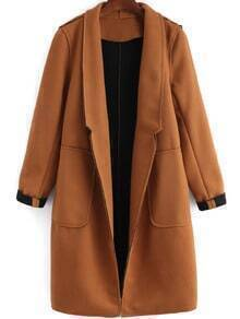 Khaki Lapel Pockets Loose Coat