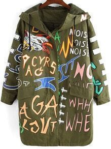 Colour Hooded Eagle Letters Print Coat