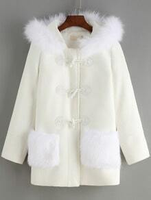 White Faux Fur Hooded Horns Buckle Coat