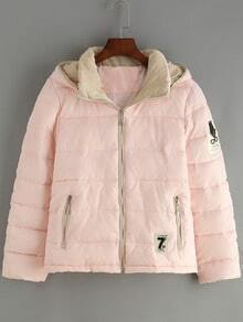 Pink Hooded Zipper Pockets Coat