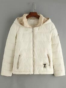 White Hooded Zipper Pockets Coat
