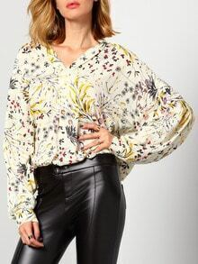 Beige Long Sleeve Floral Blouse
