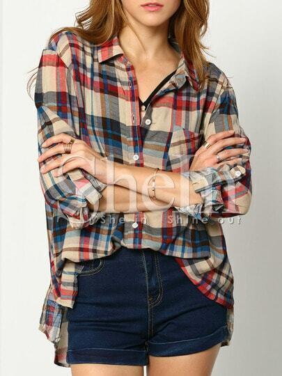 Multicolor Long Sleeve Lapel Plaid Blouse