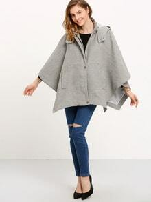 Grey Hooded Batwing Sleeve Coat