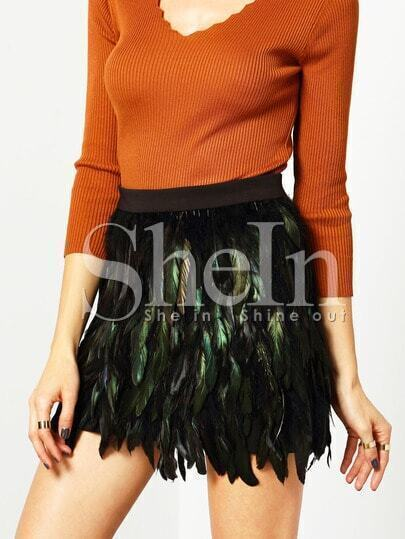 Multicolor High Waist Feather Skirt