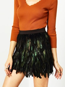 Multicolor High Waist Feather Skirt