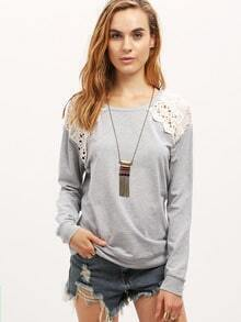 Grey Long Sleeve With Lace Sweatshirt