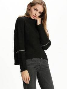 Black Long Sleeve Split Sweater