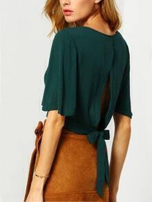 Dark Green Batwing Sleeve Knotted Crop Top