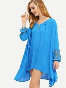 Blue Long Sleeve With Lace High Low Dress