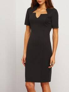 Black Short Sleeve Square Neck Sheath Dress