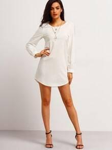 Beige Long Sleeve Casual Dress