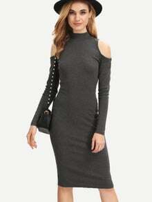 Grey Long Sleeve Cold Shoulder Sheath Dress