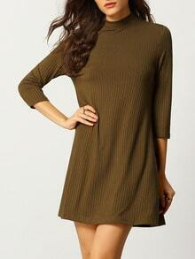 Green High Neck Casual Dress