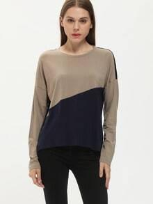 Grey Round Neck Color Block T-Shirt