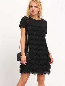 Black Short Sleeve With Faux Fur Dress