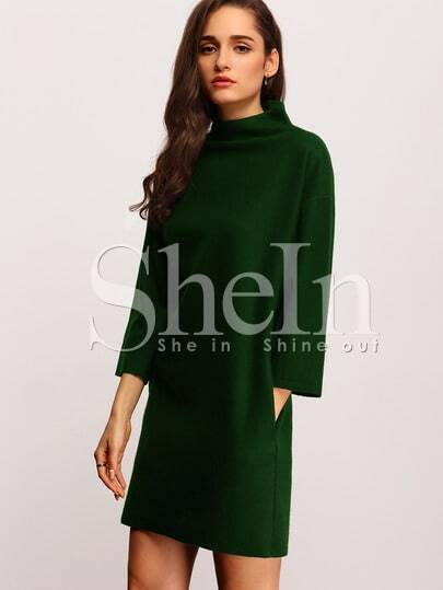 Dark Green High Neck Pockets Dress