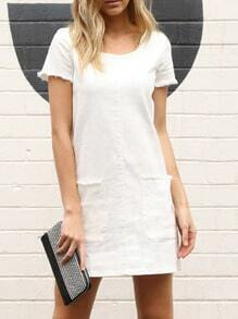 White Short Sleeve Pockets Dress