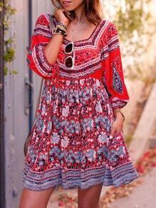 Multicolor Square Neck Vintage Print Dress