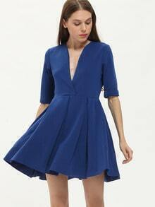 Blue Deep V Neck Ruffle Dress