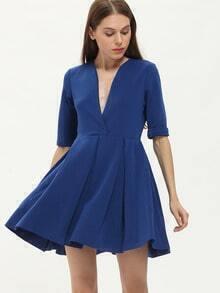 Blue Deep V Neck Ruffle Dress