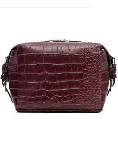 Burgundy Crocodile PU Satchel Bag