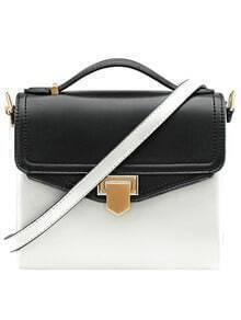 Black White Metal Buckle PU Shoulder Bag