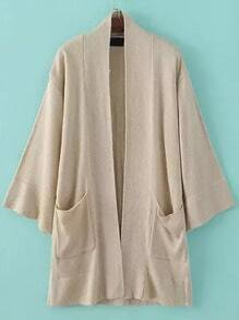 Apricot Pockets Loose Sweater Coat
