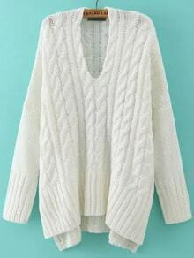 White V Neck Cable Knit Loose Sweater