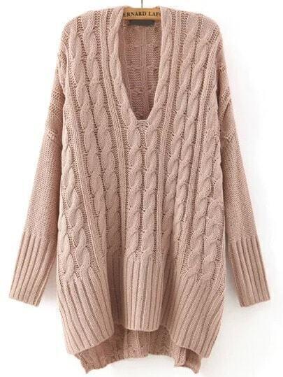 Khaki V Neck Cable Knit Loose Sweater