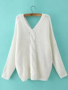 White V Neck Buttons Cable Knit Sweater
