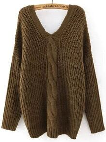 Army Green V Neck Buttons Cable Knit Sweater