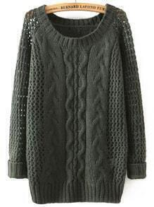 Green Round Neck Hollow Cable Knit Sweater