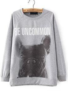 Grey Round Neck Letters Dog Print Sweatshirt