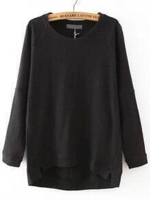 Black Round Neck Dip Hem Loose Sweatshirt