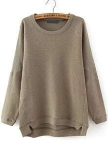 Brown Round Neck Dip Hem Loose Sweatshirt