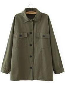 Army Green Lapel Buttons Pockets Blouse