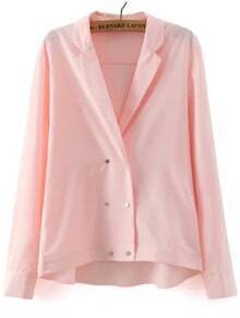 Pink Notch Lapel Double Breasted Blouse
