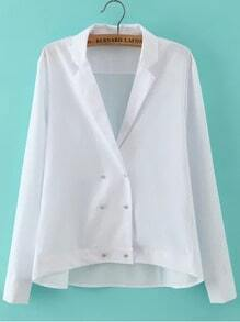 White Notch Lapel Double Breasted Blouse