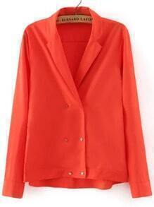 Red Notch Lapel Double Breasted Blouse