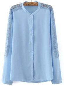Blue Lace Long Sleeve Chiffon Loose Blouse