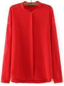 Red Lace Long Sleeve Chiffon Loose Blouse